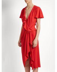 Altuzarra   Red Mesilla Ruffled Silk-blend Dress   Lyst