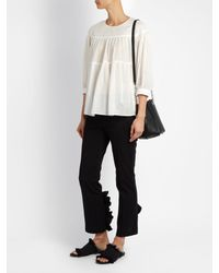 MUVEIL - White Tiered Pleated Cotton Top - Lyst
