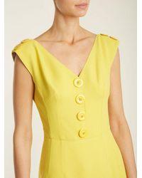 Dolce & Gabbana Yellow V-neck Cady Dress