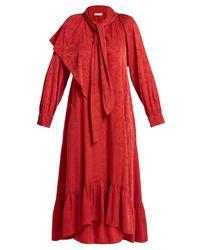 MASSCOB Red Brittany Silk Blend Jacquard Dress