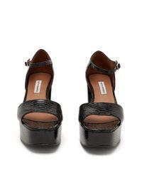 Sandales à plateforme en cuir effet python Patton Tabitha Simmons en coloris Black