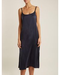 Asceno - Blue Scoop-neck Sandwashed-silk Nightdress - Lyst