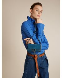 Chloé Blue Faye Mini Leather And Suede Cross-body Bag