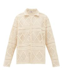 Bode White Havana Cotton Crochet-lace Shirt