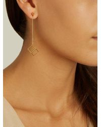 Noor Fares - Metallic Pyramid And Cube Yellow-gold Earrings - Lyst