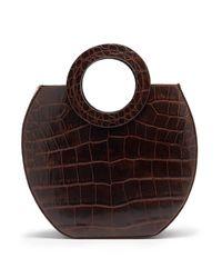 Staud Brown Frida Crocodile-effect Leather Tote Bag