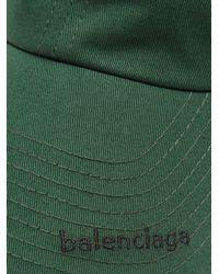 Balenciaga Green Logo Embroidered Cotton Cap for men