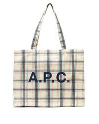 メンズ A.P.C. ダイアン チェックキャンバストートバッグ Multicolor