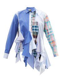 Marques'Almeida パッチワーク ゴデット アップサイクルコットンポプリンシャツ Blue