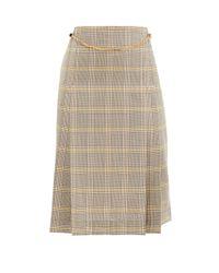 Victoria Beckham プリーツウール ベルテッドハイライズスカート Natural