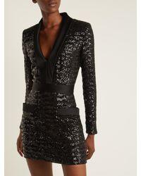 Balmain Black Satin-lapel Sequin-embellished Mini Dress