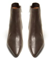 The Row Gray Coco Point Toe Leather Ankle Boots