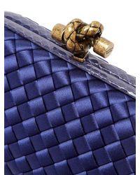 Bottega Veneta Blue Intrecciato Satin And Watersnake Clutch