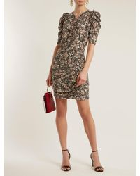 Isabel Marant Black Brizia Floral Print Puff Sleeved Dress