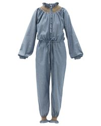 Loretta Caponi クリスティーナ コットンシャンブレージャンプスーツ Blue