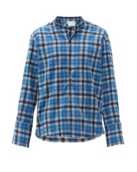 メンズ Greg Lauren スタジオ チェック コットンフランネルシャツ Blue