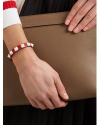 Valentino Red Rockstud Small Leather Bracelet