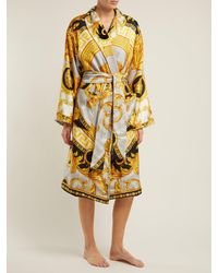 Versace Yellow La Coupe Des Dieux Baroque Print Silk Robe
