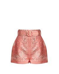 Zimmermann Pink Heathers Bandana Print Linen Shorts