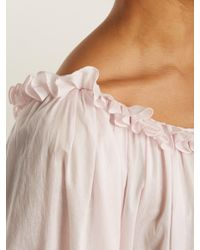 Three Graces London - Pink Esther Balloon-sleeved Cotton Nightdress - Lyst