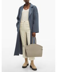 Aesther Ekme Gray Dawn Curved-top Leather Handbag