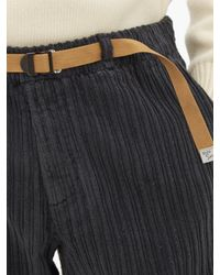 White Sand Gray Belted Cotton-corduroy Trousers for men