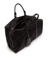 Neil Barrett - Black Camouflage Leather-trimmed Nylon Holdall for Men - Lyst
