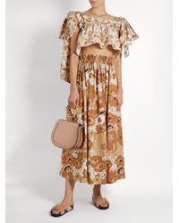 Chloé - Multicolor Floral-print Ruffled Cotton Cropped Top - Lyst