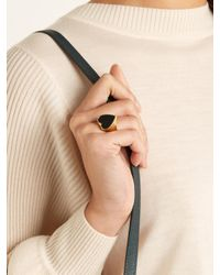 Chloé - Black Stone-embellished Heart Signet Ring - Lyst