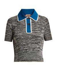 N°21 Blue Contrast-placket Cotton-blend Polo Top