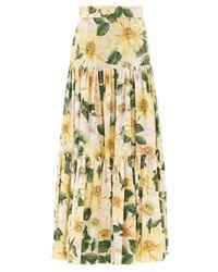 Dolce & Gabbana カメリアプリント コットンマキシスカート Multicolor