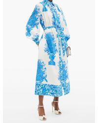 Valentino デルフトプリント コットンシャツドレス Blue
