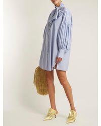 Hillier Bartley Blue Tie Neck Pinstripe Cotton Shirtdress