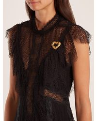 Dolce & Gabbana - Metallic Crystal-embellished Heart Brooch - Lyst