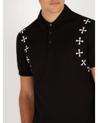 Neil Barrett Black Military Cotton Piqué Polo Shirt for men