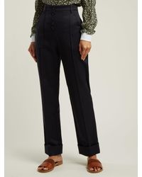 A.P.C. Blue Georgianna High-waist Cotton Trousers