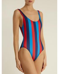 Solid & Striped - Blue The Anne-marie Striped Swimsuit - Lyst