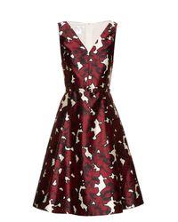 Oscar de la Renta Multicolor Floral-print Silk-twill Dress