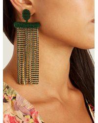 Oscar de la Renta - Green Waterfall Tassel-drop Clip-on Earrings - Lyst