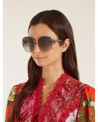 Gucci Multicolor Web Striped Round Frame Sunglasses