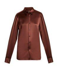 CONNOLLY Brown Point-collar Stretch-silk Satin Shirt