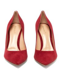 Gianvito Rossi Red Gianvito 85 Point Toe Suede Pumps