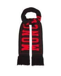 メンズ Moncler ロゴ ウールブレンドスカーフ Black
