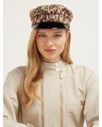 Ruslan Baginskiy Brown Leopard Print Wool Baker Boy Cap