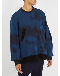Longjourney Blue Lb Crew Bi-colour Cotton Sweatshirt for men