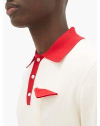 メンズ CASABLANCA コットンニット ポロシャツ Red
