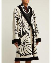 Marit Ilison Multicolor Palm Intarsia Tasselled Cotton Coat