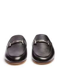 Tod's Black Cuoio T-bar Leather Backless Loafers