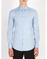 Dolce & Gabbana Blue Johnny Cotton Blend Poplin Shirt for men
