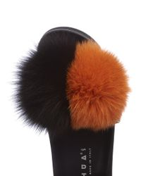 Joshua Sanders - Black Fox Fur-embellished Slider Sandals - Lyst